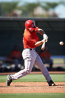 Los Angeles Angels of Anaheim Jack Kruger (12) during an Instructional League game against the San Francisco Giants on October 13, 2016 at the Tempe Diablo Stadium Complex in Tempe, Arizona.  (Mike Janes/Four Seam Images)