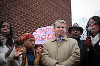 "Manhattan District Attorney Cyrus Vance Jr., center, at the ""Too Many Victims"" march and rally in Harlem in New York on Sunday, January 8, 2012 on the one year anniversary of the Tucson shooting of  U.S. Representative Gabrielle Giffords and other victims. The event remembered all victims of gun violence with the lighting of candles. (© Frances M. Roberts)"