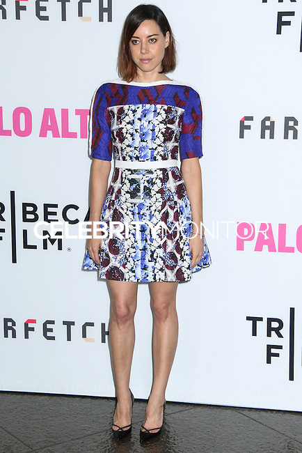 """LOS ANGELES, CA, USA - MAY 05: Aubrey Plaza at the Los Angeles Premiere Of Tribeca Film's """"Palo Alto"""" held at the Directors Guild of America on May 5, 2014 in Los Angeles, California, United States. (Photo by Celebrity Monitor)"""