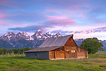 Grand Teton National Park, WY: Summer morning light on the T.A. Moulton barn at Mormon Row - Antelope Flats