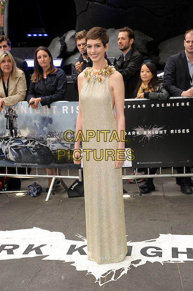 Anne Hathaway (wearing Gucci).'The Dark Knight Rises' European premiere at Odeon Leicester Square cinema, London, England..18th July 2012.full length embellished jewel encrusted flowers floral pearls collar short cropped hair sleeveless silver gold cream beige dress cut out sides .CAP/PL.©Phil Loftus/Capital Pictures.
