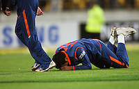 India's Rohit Sharma collapses in despair as his missed catch sees NZ win the match during 2nd Twenty20 cricket match match between New Zealand Black Caps and West Indies at Westpac Stadium, Wellington, New Zealand on Friday, 27 February 2009. Photo: Dave Lintott / lintottphoto.co.nz