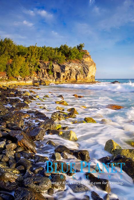 Shipwreck Beach, at sunset, Kauai, Hawaii, USA, Pacific Ocean