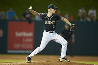 Army Black Knights relief pitcher Jacob Carte (2) makes a pick-off throw to second base during the game against the Auburn Tigers at Doak Field at Dail Park on June 2, 2018 in Raleigh, North Carolina. The Tigers defeated the Black Knights 12-1. (Brian Westerholt/Four Seam Images)