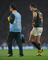 Handre Pollard of South Africa leaves the pitch during the Semi Final of the Rugby World Cup 2015 between South Africa and New Zealand - 24/10/2015 - Twickenham Stadium, London<br /> Mandatory Credit: Rob Munro/Stewart Communications