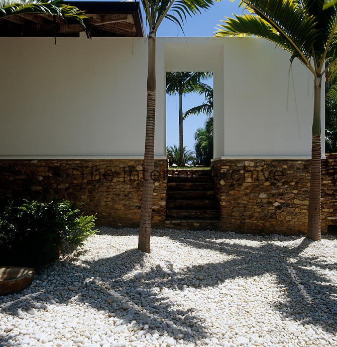 The fronds of the palm trees cast shadows over the gravel of the entrance courtyard