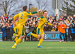 15 November 2015: University of Vermont Catamount Midfielder Jackson Dayton, a Junior from San Francisco, CA, smiles at the sound of the final horn, after action against the Binghamton University Bearcats at Virtue Field in Burlington, Vermont. The Catamounts shut out the Bearcats 1-0 in the America East Championship Game. Mandatory Credit: Ed Wolfstein Photo *** RAW (NEF) Image File Available ***