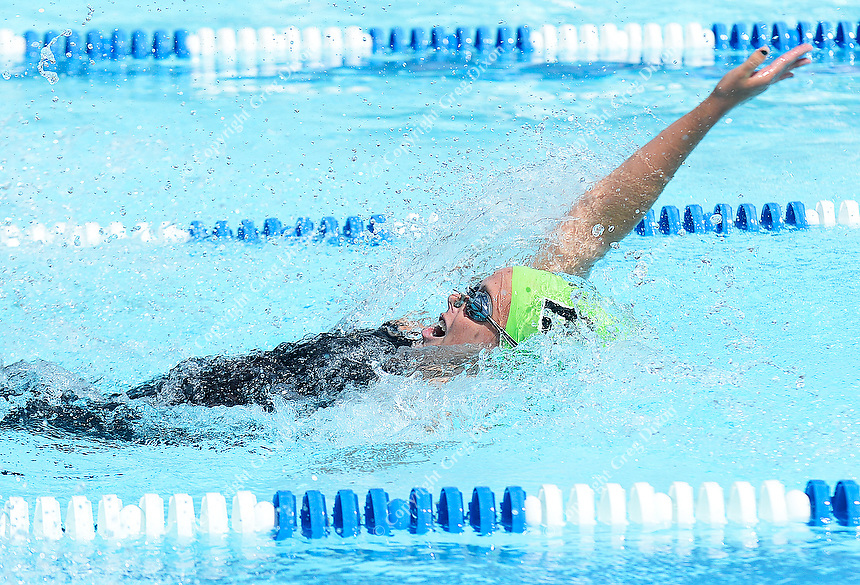 Ridgewood's Sara Stewart, 17, wins the 15-19 year-old 100-meter backstroke with a time of 1:03.48 to set an All-City meter-pool record during 2019 All-City Swim and Dive on Sunday, 8/4/19 at West Side Swim Club in Madison, Wisconsin   Wisconsin State Journal article front page Sports 8/5/19 and online at https://madison.com/wsj/sports/ridgewood-wins-all-city-swim-meet-title-for-fourth-time/article_bec4be1b-ef2d-5233-a418-76284e704cef.html