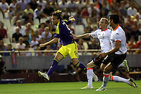 Valencia, Spain. Thursday 19 September 2013<br /> Pictured: Michu of Swansea scoring his goal, making the score 0-2 to his team<br /> Re: UEFA Europa League game against Valencia C.F v Swansea City FC, at the Estadio Mestalla, Spain,