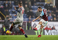 Burnley's Phillip Bardsley shoots under pressure from  Liverpool's Jordan Henderson<br /> <br /> Photographer Andrew Kearns/CameraSport<br /> <br /> The Premier League - Burnley v Liverpool - Wednesday 5th December 2018 - Turf Moor - Burnley<br /> <br /> World Copyright &copy; 2018 CameraSport. All rights reserved. 43 Linden Ave. Countesthorpe. Leicester. England. LE8 5PG - Tel: +44 (0) 116 277 4147 - admin@camerasport.com - www.camerasport.com