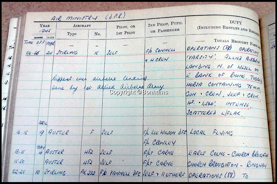 BNPS.co.uk (01202 558833)Pic: Bonhams/BNPS<br /> <br /> 'Operation Varsity'.<br /> <br /> Kenneth Wolstenholme's logbook.<br /> <br /> The bravery medals and logbooks of Kenneth Wolstenholme have emerged for sale which reveal it was almost 'all over' for the legendary commentator 25 years before he said the immortal line during the 1966 World Cup Final.<br /> <br /> Wolstenholme will always be remembered for leaving his mark on the greatest day in English football history with his commentary of Geoff Hurst's hat-trick goal which sealed England's only World Cup win.<br /> <br /> But he was also an exceptional pilot who flew in 89 raids in the Second World War - another famous victory over Germany.<br /> <br /> However, it has now come to light that he was almost killed during one of his first missions, a raid on Heligoland, a small German archipelago in the North Sea, on May 21, 1941.