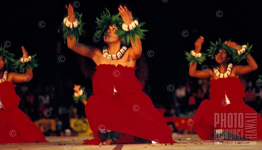 Merrie Monarch hula dancers with halau 'okawaili'ula; Kumu Chinky Mahoe