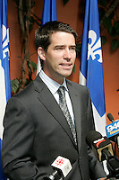PQ member Andre Boisclair annonce he is quitting politic, August 17, 2004 in Montreal<br /> <br /> Boisclair, an openly gay politician came back to politic and was elected leader of the Parti Quebecois, November 16, 2005  with 53,6% of the votes. <br /> <br /> photo : (c)  Images Distribution