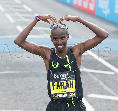 07.09.2014.  South Shields, England.  BUPA Great North Run. The MoBot on the finish line from Mo Farah after he wins the 2014 Great North Run.