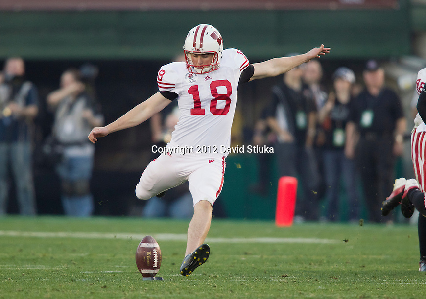 Wisconsin Badgers kicker Philip Welch (18) lines up for a kickoff during the 2012 Rose Bowl NCAA football game against the Oregon Ducks in Pasadena, California on January 2, 2012. The Ducks won 45-38. (Photo by David Stluka)