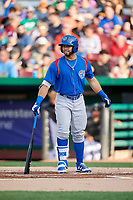 South Bend Cubs designated hitter Michael Cruz (8) at bat during a game against the Kane County Cougars on July 21, 2018 at Northwestern Medicine Field in Geneva, Illinois.  South Bend defeated Kane County 4-2.  (Mike Janes/Four Seam Images)