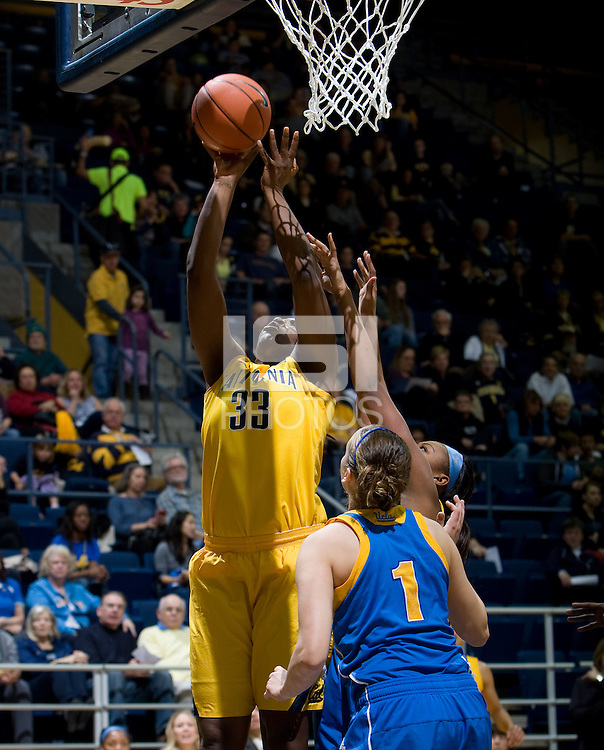 Talia Caldwell of California shoots the ball during the game against UCLA at Haas Pavilion in Berkeley, California on January 20th, 2013.   California defeated UCLA, 70-65.