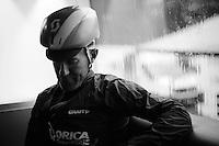 Svein Tuft (CAN/Orica-GreenEDGE) pré-race prepping on the teambus<br /> <br /> stage 21: Sèvres - Champs Elysées (109km)<br /> 2015 Tour de France