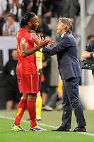 Didier Drogba and his coach Roberto Manchini Galatasaray <br /> Torino 02-10-2013 Juventus Stadium<br /> UEFA Champions League 2013/2014<br /> Football Calcio Juventus vs Galatasaray<br /> Foto Insidefoto Giorgio Perottino
