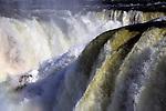 South America, Argentina, Iguacu Falls. Layers of rapids and mist at Iguacu Falls.