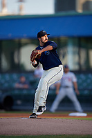 Mobile BayBears starting pitcher Jason Alexander (28) during a Southern League game against the Jacksonville Jumbo Shrimp on May 7, 2019 at Hank Aaron Stadium in Mobile, Alabama.  Mobile defeated Jacksonville 2-0.  (Mike Janes/Four Seam Images)