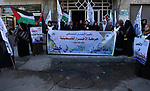 Palestinian supporters of Al-Ahrar movement, take part in a protest to show solidarity with the Al-Aqsa Mosque and Jerusalem in Gaza city on January 26, 2020. Photo by Mahmoud Ajjour