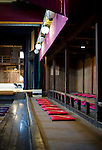 Photo shows seating in the stalls area inside Korakukan theater, Japan's oldest extant wooden playhouse in Kosaka, Akita Prefecture Japan on 19 Dec. 2012. In its hey-day some 1,000 people would cram onto the tatami mats to watch Kabuki performaces. Photographer: Robert Gilhooly