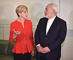 Julie Bishop, Foreign Minister of Australia (L), speaks with Dr Javad Zarif, Foreign Minister of Iran (R), before a meeting at Parliament House, Canberra, Tuesday, March 15, 2016. AFP PHOTO/ MARK GRAHAM