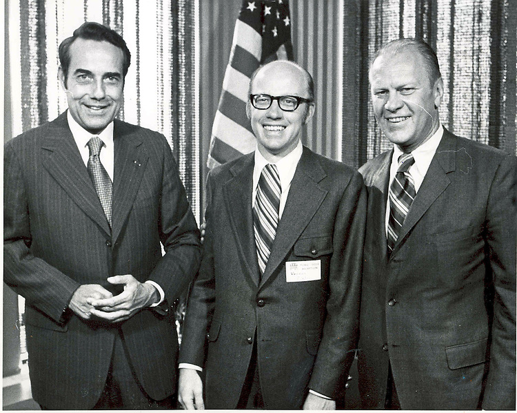 DoleFordAttic031902 -- The year was 1972.  Vern Ehlers poses with Republican National Committee Chair Senator Bob Dole (R-Kansas) and his hometown congressman, Rep. Jerry Ford (R-Michigan).  Thirty years later, Rep. Vern Ehlers (R-Michigan) represents the same congressional district as then House Minority Leader and soon to become Vice President and President Gerald R. Ford. (Info call Bill McBride 225-3831).