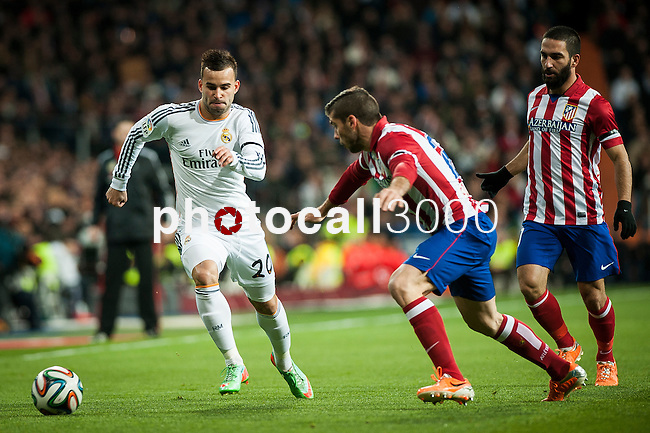 Santiago Bernabeu. Madrid. Spain. 05.02.2014. Football match between Real Madrid and Atletico de Madrid. Jesé Rodriguez. Emiliano Insua