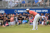 Matthieu Pavon (FRA) misses his putt on the 18th green during Sunday's Final Round of the 2018 Dubai Duty Free Irish Open, held at Ballyliffin Golf Club, Ireland. 8th July 2018.<br /> Picture: Eoin Clarke | Golffile<br /> <br /> <br /> All photos usage must carry mandatory copyright credit (&copy; Golffile | Eoin Clarke)