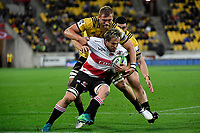Lions' Marnus Schoeman in action during the Super Rugby - Hurricanes v Lions at Westpac Stadium, Wellington, New Zealand on Saturday 5 May 2018.<br /> Photo by Masanori Udagawa. <br /> www.photowellington.photoshelter.com