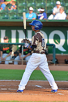 Kelvin Ramos (5) of the Ogden Raptors at bat against the Great Falls Voyagers in Pioneer League action at Lindquist Field on July 17, 2014 in Ogden, Utah.  (Stephen Smith/Four Seam Images)