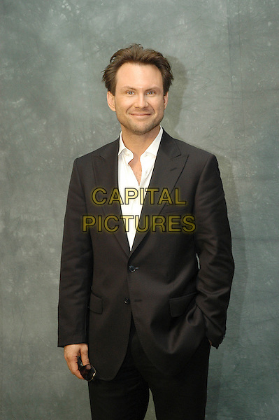 "CHRISTIAN SLATER.Photocall for ""Bobby"" at Cinema the four Fontana's, Rome, Italy.  .January 19th, 2007.half length black suit jacket hand in pocket.CAP/CAV.©Luca Cavallari/Capital Pictures"