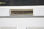 Notice on house letter box 'No cold callers no junk mail, UK