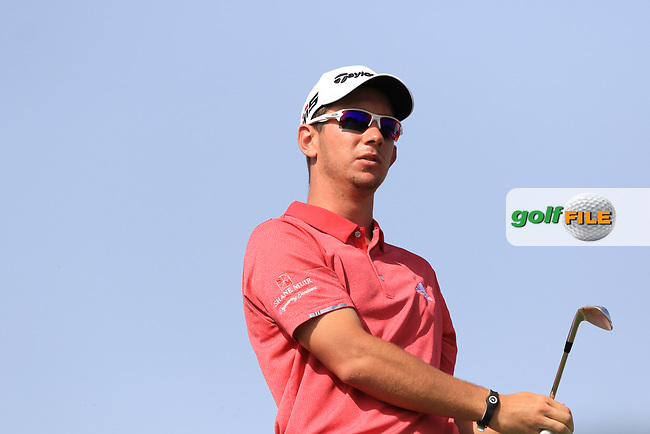 Lucas Herbert (AUS) on the 4th tee during Round 3 of the Omega Dubai Desert Classic, Emirates Golf Club, Dubai,  United Arab Emirates. 26/01/2019<br /> Picture: Golffile | Thos Caffrey<br /> <br /> <br /> All photo usage must carry mandatory copyright credit (&copy; Golffile | Thos Caffrey)