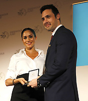 07 February 2019 - Meghan Markle Duchess of Sussex presents the Celebrating Excellence Award to Nathan Forster, a former soldier of the Army's Parachute Regiment during the annual Endeavour Fund Awards at Draper's Hall in London. The Royal Foundation's Endeavour Fund Awards celebrate the achievements of wounded, injured and sick servicemen and women who have taken part in sporting and adventure challenges over the last year. Photo Credit: ALPR/AdMedia