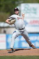 Delmarva Shorebirds relief pitcher Robert Strader (27) in action against the Kannapolis Intimidators at Kannapolis Intimidators Stadium on April 13, 2016 in Kannapolis, North Carolina.  The Intimidators defeated the Shorebirds 8-7.  (Brian Westerholt/Four Seam Images)