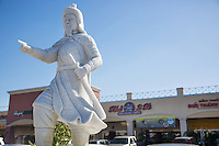White Marble Statue of Tran Hung Dao at Hanoi Plaza in Little Saigon Westmisnter California