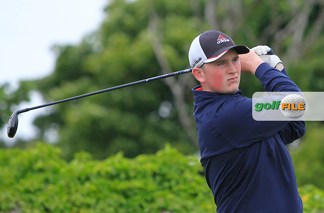 Sean Kestell (Woodbrook) on the 1st tee during R2 of the 2016 Connacht U18 Boys Open, played at Galway Golf Club, Galway, Galway, Ireland. 06/07/2016. <br /> Picture: Thos Caffrey | Golffile<br /> <br /> All photos usage must carry mandatory copyright credit   (&copy; Golffile | Thos Caffrey)