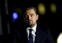 Leonardo DiCaprio participates in a panel discussion on climate change with United States President Barack Obama (unseen) and Dr. Katharine Hayhoe (unseen),  as part of the White House South by South Lawn (SXSL)  event about the importance of protecting the one planet we&rsquo;ve got for future generations, on the South Lawn of the White House, Washington DC, October 3, 2016. <br /> Credit: Aude Guerrucci / Pool via CNP /MediaPunch