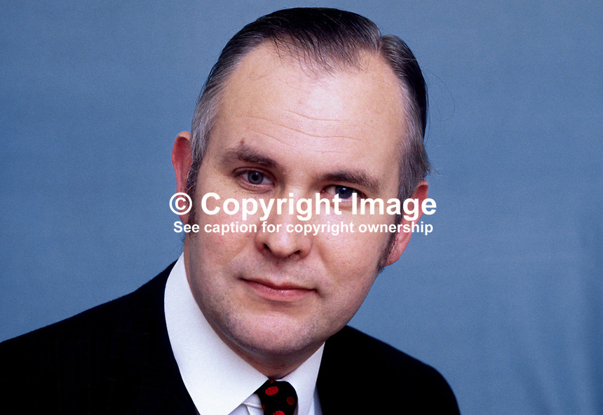 Liam McCollum, QC, candidate, Alliance Party of N Ireland, in South Belfast, N Ireland, in 1973 N ireland Assembly Election, 197305000299.<br />