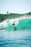 INDONESIA, Mentawai Islands, Kandui Resort, surfer on a wave called E-Bay.