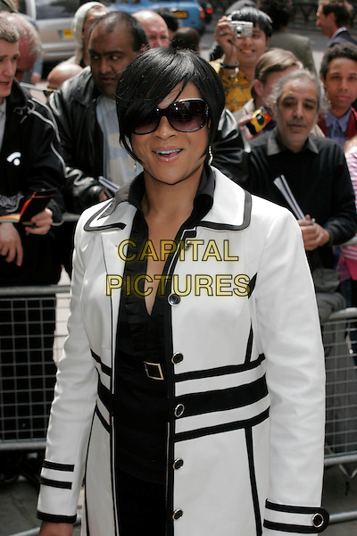 GABRIELLE .The Ivor Novello Awards, Grosvenor House, Park Lane, London, England..May 22nd, 2008.half length white black coat jacket sunglasses shades .CAP/AH.©Adam Houghton/Capital Pictures.
