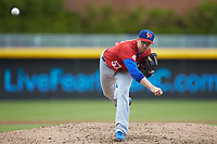 Buffalo Bison relief pitcher Jake Petricka (52) delivers a pitch to the plate against the Durham Bulls at Durham Bulls Athletic Park on April 25, 2018 in Allentown, Pennsylvania.  The Bison defeated the Bulls 5-2.  (Brian Westerholt/Four Seam Images)