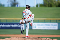 Glendale Desert Dogs starting pitcher Elniery Garcia (70), of the Philadelphia Phillies organization, delivers a pitch to the plate during an Arizona Fall League game against the Mesa Solar Sox on October 28, 2017 at Sloan Park in Mesa, Arizona. The Solar Sox defeated the Desert Dogs 9-6. (Zachary Lucy/Four Seam Images)