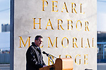 NEW HAVEN, CT. 06 December 2018-120618 - Governor Dannel Malloy speaks to those gathered during the dedication ceremonies of the Pearl Harbor Memorial Park located below the Pearl Harbor Memorial Bridge in New Haven on Thursday. Bill Shettle Republican-American