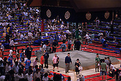 The wrestling ring (Dohyo) is covered and guarded at the end of the day in the controversial Nagoya summer Grand Sumo Tournament held on the 14th and second final day.