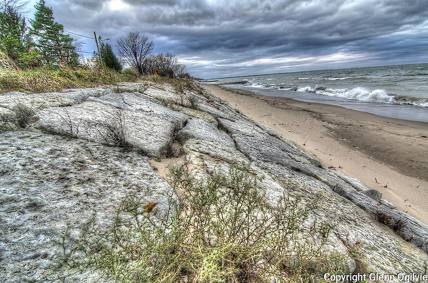 Lake Huron shoreline erosion at Brights Grove