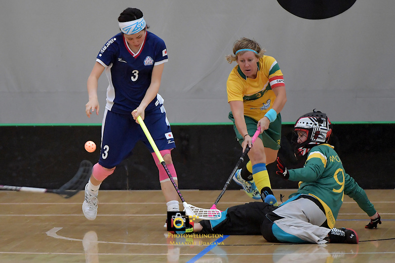 Japan's Yui Goto and Australia's Sarah Moulton in action during the World Floorball Championships 2017 Qualification for Asia Oceania Region Final - Australia v Japan at ASB Sports Centre , Wellington, New Zealand on Sunday 5 February 2017.<br /> Photo by Masanori Udagawa<br /> www.photowellington.photoshelter.com.